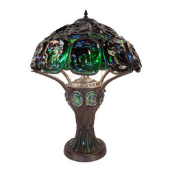 Warehouse of Tiffany - Tiffany Style Turtleback Table Lamp with Lighted Base - Bring remarkable style to your room with the addition of this Tiffany glass table lamp. This lamp is available in several colors and features a wood-look base with a shade that is crafted from 24 pieces of stained glass wrapped in copper foil.