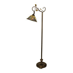 Dale Tiffany - Dale Tiffany TF90216 Crystal Peony Floor Lamp - Shade: Hand Rolled Art Glass
