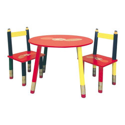 ORE International - 3 Pc Kids Colored Pencil Table & Chairs Set - Includes 2 chairs and a kid-sized table. Pencil shaped legs. Sports ball print on chairs and table. Minimal assembly required. Made from wood . Red, Yellow and Black finish. Ages 3-7. Table: 23.5 in. L x 23.5 in. W x 16.5 in. H (15 lbs.). Chair: 11 in. W x 11 in. D x 20.5 in. HPerfect for indoor tea parties and art projects. Primary-color paint is cheerful. Young sports fans will love this cheery table set, a perfect accent in a play room or children's bedroom. Perfect place for coloring, game time and more.