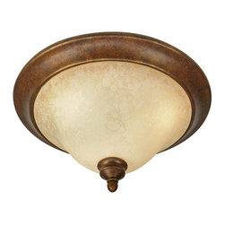 Golden Lighting - Rockefeller Flushmount Light - This fixture is like a chameleon. With a mottled brown base and finial, and antiqued glass shade, it moves easily among traditional, Mission, country, and industrial rooms and always keeps its low profile. And, with three lights under the shade, it will light up your room -- and your life -- in great style.