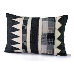 14 Karat Home - Gilman - This mixed media patchwork pillow will bring contrast and flair to your living space. The fashion forward design with tweed fabric will bring the what's trending now into your home or work space.