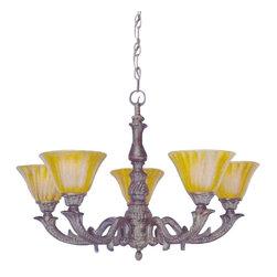 "Toltec - Toltec 85-BRZ-509 Bronze Finish 5-Light Uplight Chandelier with 7"" Tiger Glass - Toltec 85-BRZ-509 Bronze Finish 5-Light Uplight Chandelier with 7"" Tiger Glass"