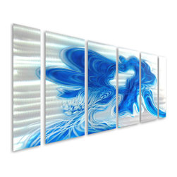 Pure Art - Bolt of Blue Abstract Metal Wall Hanging Panel Set of 6 - Blue is a powerful color that can calm the senses and bring a sense of tranquility and peacefulness to your surroundings! Such is the inspiration behind the Bolt of Blue Abstract Metal Wall Hanging Set of 6 panels puts the power of blue to work for you in your home in a hand painted aluminum wall art grouping that will turn heads and draw the eye.  Hang this beautiful grouping of metal wall art wherever you want to bring brilliant color and remarkable design while also creating a serene and tranquil space that is enjoyable and relaxing. Hand painted aluminum is finished in high gloss and is abundantly sized to make a huge, visually stunning impact on your modern wall spaceMade with top grade aluminum material and handcrafted with the use of special colors, it is a very appealing piece that sticks out with its genuine glow. Easy to hang and clean.