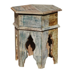 Sierra Living Concepts - Eco Smart Distressed Hexagon Accent End Table - The Eco Smart Distressed Hexagon Accent End Table is an instant conversation starter. The solid reclaimed accent end table is six sided with six decorative legs.