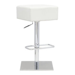 Fine Mod Imports - Marshmallow Bar Stool White - Marshmallows are fun! This one, in the form of an adjustable swivel bar stool, features a thick, soft leatherette seat and shiny steel base. Perch on it and sip your hot cocoa, or something more grown-up.