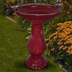Alpine - Alpine Antique Brick Red Ceramic Bird Bath with 2 Birds - TLR102RED - Shop for Garden Bird Baths from Hayneedle.com! Bring a beautiful and classic touch to your yard with the Alpine Antique Brick Red Ceramic Bird Bath with 2 Birds. Handcrafted out of ceramic and finished in rich brick red glaze this bird bath takes you back to the Victorian age. It's decorated with a bird perched on each side of the bowl; you'll enjoy watching colorful birds come to bathe and drink.About Alpine CorporationAlpine Corporation has offices in Arizona Colorado Florida Iowa and Ohio. With a firm belief in the free enterprise system Alpine Corporation promotes equal treatment for customers employees shareholders suppliers and the community. Alpine Corporation carries a vast array of items including fountains pond and garden accessories and statuary and carries lighting and parts as well. A steadfast goal for Alpine Corporation is to continually exceed their customers' increasing expectations.