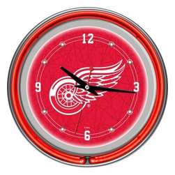 Trademark Global - Trademark Global 14 in. Detroit Redwings NHL Neon Wall Clock NHL1400-DR - Shop for Wall Decor at The Home Depot. This retro neon clock comes with two neon rings a bright white neon on the inside to light up the exclusive graphic and a vibrant neon ring on the outside. The high gloss chrome molded clock case adds to the brilliant shine of the neon. Make a spectacular addition to your kitchen, den or game room with this amazing clock.