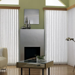 Bali® Sheer Enchantment Soft Vertical Blinds: Edon & Hartland - Get the best of both worlds with Bali Sheer Enchantment blinds that combine elegant sheer fabrics with a vinyl vertical blind.  When the vertical vanes are open, softly diffused light streams through delicate hues of sheer fabric.  When closed, Sheer Enchantment features the privacy and light control of a vertical blind.  The Edon collection is a sheer fabric with visible vertical threads featuring slubs for added interest.  The Hartland collection is a sheer fabric with a sheen and slight vertical pattern.