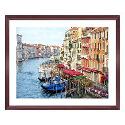 Sadkowski Photography Collection - Artwork - Canale Grande:  Venezia The Venice Collection - Gondolas lined on the Grand Canal . Image measures 24 x 30.  Printed to order on archival enhanced matte or premium luster paper with archival ink. Framing includes solid cherry wood frame, dry mount, dbl. acid free matting, glass, backing paper. Shipping included.  Image titled and signed by the artist.  From the exclusive Sadkowski Photography Collection, where every image looks like a painting.