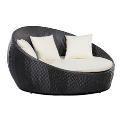 Zuo Modern - Anjuna Bed - Sometimes a chair in the shade is not enough. The Anjuna bed extends maximum comfort and style to the outdoor experience. The frame is constructed from epoxy coated aluminum and the weave from UV treated polypropylene for maximum resistance against the elements. The cushion and pillows are made with a UV and moisture resistant washable polyester fabric. A big statement piece, the Anjuna Bed fills any outdoor space with a fun and modern look. With its generous proportions, it provides ample comfort and ease of use for multiple lounging. The soft pad and pillows are perfect for resting in sun. Truly relax by lounging with your special someone, soaking up the rays or reading your favorite book.