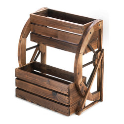 KOOLEKOO - Wagon Wheel Double-Tier Planter - Add a fresh touch of the country, complete with greenery, and enjoy your garden in a whole new way! Double-level planter features a quaint wagon wheel theme and rustic finish, with plenty of room to proudly show off your favorite blooms.
