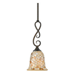 Quoizel - Quoizel MY1506ML Monterey Mosaic Traditional Mini Pendant Light - The lovely mosaic design on the glass shades is made from genuine pen shell, bringing the beauty of nature into your home. The playful curls of the metal body add a whimsical element to the overall style. Its looks as wonderful in a beach house as it does in a modern loft.