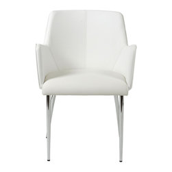Eurostyle - Sunny Arm Chair (Set Of 2)-Wht/Chrm - Soft leatherette over foam seat and back