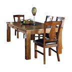 Steve Silver Co. - Lakewood 5-Pc Contemporary Dining Set - Includes table and four side chairs. Bench not included. One 18 in. leaf. Corner block construction. Tongue and groove joints. Cut out back chairs. Wrapped legs. Durable brown vinyl seat upholstery. Made from wood. Rich cherry finish. Made in Vietnam. Seat height: 18 in.. Chair: 23 in. W x 20 in. D x 40 in. H (22 lbs.). Table minimum: 60 in. L x 42 in. W x 30.5 in. H (178.5 lbs.). Table maximum: 78 in. L x 42 in. W x 30.5 in. H
