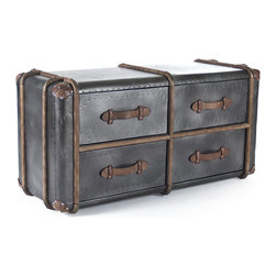 Kathy Kuo Home - Doria Industrial Loft Metal Storage Chest Dresser - Old World glamour and style meet modern convenience in this elegant, versatile storage chest. The polished, punched metal frame is detailed with weathered wood trim and rich, leather decorative handles. Four spacious drawers hold clothes, linens and other comforts of home.