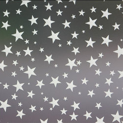 Star Struck Privacy Window Film - 3 ft. x 4 ft. - This fully frosted adhesive designer privacy film is designed to add dimension to any space needing to block visibility through glass windows. This sanded / frosted film is easily applied and can be removed without leaving heavy residue (in most circumstances). Perfect for shower doors, glass windows in bathrooms or bedrooms and any other location needing visual privacy. Trims to fit many shapes & sizes of windows. The frosted privacy film is created to allow the most natural light penetration without altering the hue and color of the light source. All films are printed with eco friendly inks and are suitable for indoor or outdoor use.