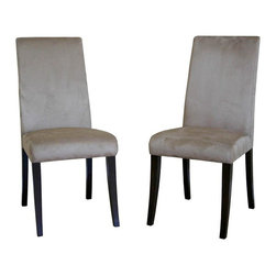 Wholesale Interiors - Baxton Studio Cream Microfiber Dining Chair in Wenge - Set of 2 - This micro fiber dining chair has clean lines that are also soft and comfortable. Its simple structure and neutral color make it an easy fit into any contemporary setting. Chair constructed with hardwood frame with extra thick high density foam padding and a rubber webbing interior support system for added comfort. Leg constructed with solid rubber wood with luxurious wenge veneers finish completes with elegant smooth, clean lines design. The perfect combination of quality craftsmanship with simple and sophisticated designs, giving you furniture that will instantly enhance your dining room decor. Feel free to match these with your dining room or dinettes. The padding of the seat and back offer maximum comfort and elegant style that surely brings casual modernity to any room.