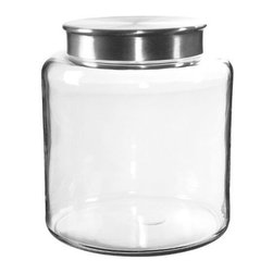 Anchor Hocking - Anchor Hocking Modern Montana Jar with Brushed Aluminium Metal Cover, 2.5-Gallon - Clear Glass 2.5 Gallon Modern Montana Jar with Flat Stainless Lid.