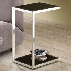 Coaster - 901006 Snack Table - This chrome snack table features reversible shelves in black and white.