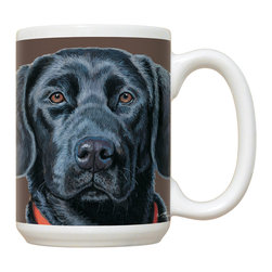 225-Black Lab Mug - 15 oz. Ceramic Mug. Dishwasher and microwave safe It has a large handle that's easy to hold.  Makes a great gift!