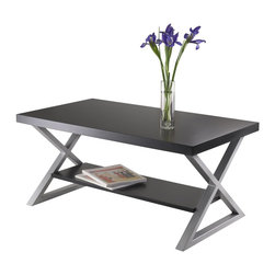 """Winsome Wood - Winsome Wood Korsa Coffee Table with Black / Metal Finish X-93439 - Korsa Table Collection adds a special look to your living room.  Table comes with Veneer Top in Black and X shape metal legs in Metallique Gray Finish.  This coffee table assembled size is 40""""W x 21.97""""D x 18.19""""H.  Shelf dimension 33.70""""W x 10.24""""D.  Clearance from top to shelf is 10.91"""".  Assembly Require."""