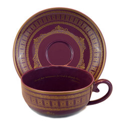 """Everybody's Ayurveda - Porcelain Tea Cup and Saucer in Purple with Gold - 4 Pieces - Teaveda """"Tridosha"""" Purple & Gold Tea Cup and Saucer. Porcelain. Made in China."""