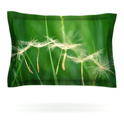 """Kess InHouse - Robin Dickinson """"Best Wishes"""" Green Flower Pillow Sham (Cotton, 30"""" x 20"""") - Pairing your already chic duvet cover with playful pillow shams is the perfect way to tie your bedroom together. There are endless possibilities to feed your artistic palette with these imaginative pillow shams. It will looks so elegant you won't want ruin the masterpiece you have created when you go to bed. Not only are these pillow shams nice to look at they are also made from a high quality cotton blend. They are so soft that they will elevate your sleep up to level that is beyond Cloud 9. We always print our goods with the highest quality printing process in order to maintain the integrity of the art that you are adeptly displaying. This means that you won't have to worry about your art fading or your sham loosing it's freshness."""