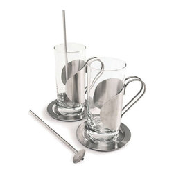 Cuisinox - Cuisinox Irish Coffee Glass Set of 2 - Warm up with these stylish Irish coffee glasses. Each 10 oz glass includes a stainless steel saucer and spoon. The glass insert can be easily removed for cleaning.