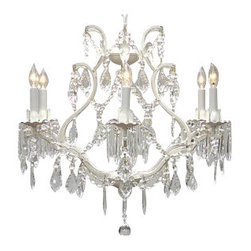 The Gallery - White Wrought Iron Crystalighting Swag Plug In-chandelier - A Great European Tradition. Nothing is quite as elegant as the fine crystal chandeliers that gave sparkle to brilliant evenings at palaces and manor houses across Europe. This beautifully unique version from the Maria Theresa Collection has 100% crystals that capture and brilliantly reflect the light of the candle bulbs which sit in a leaf design bob ache. The frame is all hand-forged wrought iron, adding the finishing touch to a wonderful fixture. The timeless elegance of this chandelier is sure to lend a special atmosphere anywhere its placed!