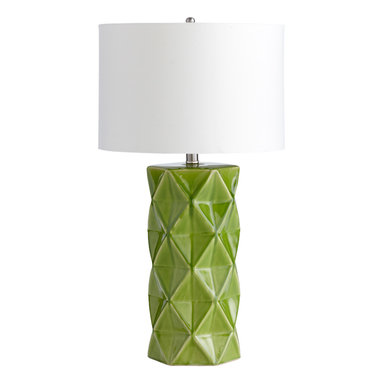 Lamps - Lime Green Table Lamp w/ White Shade