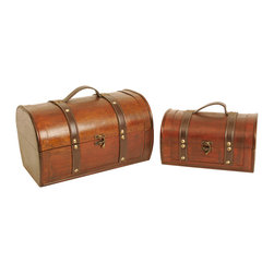 None - Wald Imports Dark Wood Trunks (Set of 2) - These gorgeous wooden trunks are accented with dark brown faux leather straps and handle with brass studs. These trunks are the perfect size for many applications. Create attractive gift baskets for family and friends,or use as storage and organization.