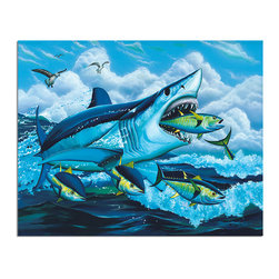 """Ready2HangArt - Ready2hangart David Dunleavy 'Feeding Inferno' Canvas Wall Art, 30"""" X 40"""" Inch - This beautiful canvas wall art brought to you by Ready2hangart from renowned artist David Dunleavy exemplifies his passion for marine life while translating it to detailed underwater paintings.  It is fully finished, arriving ready to hang on the wall of your choice."""