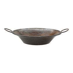 Premier Copper Products - Round Miners Pan Vessel Hammered Copper Sink - Uncompromising quality, beauty, and functionality make up this Premier Round Vessel Style Bathroom Sink With Rigid Copper Wrapped Wire Rim and Copper Handles.