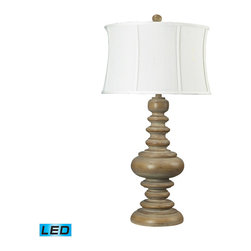 Dimond Lighting - Dimond Lighting 93-9244-LED Moniac 1 Light Table Lamps in Bleached Wood - Reclaimed Wood Look Lamp - Round- LED Offering Up To 800 Lumens (60 Watt Equivalent) With Three Way Capabilty. Includes An Easily Replaceable LED Bulb (120V)