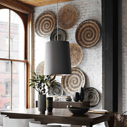 West Elm - Decorative Bowl Wall Art - Woven grasses create great texture on a wall when multiple pieces are grouped together. I have used these pieces on a large wall space.