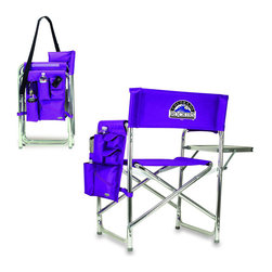 "Picnic Time - Colorado Rockies Sports Chair in Purple - The Sports Chair by Picnic Time is the ultimate spectator chair! It's a lightweight, portable folding chair with a sturdy aluminum frame that has an adjustable shoulder strap for easy carrying. If you prefer not to use the shoulder strap, the chair also has two sturdy webbing handles that come into view when the chair is folded. The extra-wide seat (19.5"") is made of durable 600D polyester with padding for extra comfort. The armrests are also padded for optimal comfort. On the side of the chair is a 600D polyester accessories panel that includes a variety of pockets to hold such items as your cell phone, sunglasses, magazines, or a scorekeeper's pad. It also includes an insulated bottled beverage pouch and a zippered security pocket to keep valuables out of plain view. A convenient side table folds out to hold food or drinks (up to 10 lbs.). Maximum weight capacity for the chair is 300 lbs. The Sports Chair makes a perfect gift for those who enjoy spectator sports, RVing, and camping.; Decoration: Digital Print"