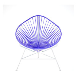 Baby Acapulco Chair, White Frame With Purple Weave - The classic avocado shape of this chair — known as the Acapulco — is a great design for indoor or outdoor use. The smaller woven vinyl seat is perfect for children or adults, and the white steel base is sturdy and resistant to rust. This is a great solution for your backyard this summer. You just have to pick your favorite color for the seat!
