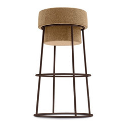 Domitalia - Bouchon Stool - Cork - Bronze Frame - The Bouchon Stool is a lovable piece that marries the dynamic duo of cork and steel in a timeless fashion. Charming and versatile, Bouchon's natural cork seat sits atop an industrial steel base that is offered in Bar and Counter heights as well as a selection of finishes. From modern minimalists to wine enthusiasts, the Bouchon Stool pleases easily and assimilates readily into a range of interior styles.