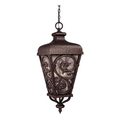 Savoy House - Spaniard Hanging Lantern - Add a dash of Spanish flavor to your outdoor decor. This hanging lantern has flowing filigree, romantic style and a bright festive glow — all that's missing are the tapas.