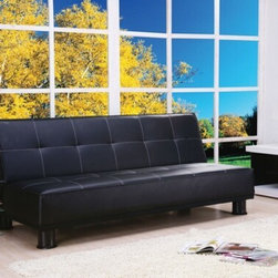 "Acme - Alberta Black Leather-Like Adjustable Sofa Futon Bed with Tufted Back - Alberta Black leather like adjustable sofa futon bed with tufted back and accented stitching. This set features a leather like upholstery and a folding back to lay flat to convert to a sleep area. Measures when flat 71"" x 43"" x 15"" H. Measures when upright 71"" x 34"" x 31"" H. Some assembly required."