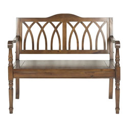 Safavieh - Piper Bench - The Piper bench takes a classic garden form and transports it indoors. Elegant finials on the sides under the arms, a back motif inspired by gothic architecture transform the dark walnut finished pine Piper bench into a striking statement appropriate for entryways, living room and bedroom.