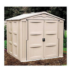 Suncast - Resin Outdoor Storage Building w Floor & Lockable Doors in Taupe - Your yard will stay neat and tidy when you have this fabulous resin storage building.  Snap-together design features a complete floor and extra-wide front opening with full-size lockable doors.  Corners are reinforced for strength and stability, and sides features stylish recessed panel design.  This roomy building is great for yard equipment, tools, and gardening supplies. 311 Cubic foot capacity. Door opening - 5.18 ft. H x 5.875 ft. W. Large Panels allow fast snap-together assembly. Extra-wide front opening (62 in. W x 69.5 in. H). Strong corner-column construction. Lockable doors with upper and lower latches. Long lasting resin construction. Floor included. Color: Light taupe. Size: 7.81 ft. W x 7.895 ft. D x 7.29 ft. H. Internal Size: 7 ft. W x 7 ft. D x 6.5 ft. H