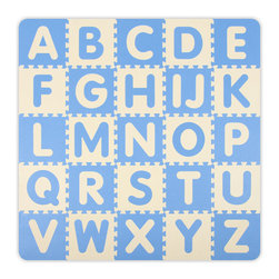 Alessco - Baby Blue A-Z & 0-9 Interlocking Floor Mat - 5 x 5 - Baby Blue A-Z & 0-9 Interlocking Floor Mat - 5 x 5