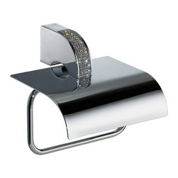 Manillons - Carmen Toilet Paper Holder with Lid. Swarovski Crystal - Calling this toilet paper holder an overachiever is an understatement. With sparkling Swarovski crystals and a gleaming, polished-chrome lid, it outperforms just by being. Don't be surprised if all of your other bathroom fixtures begin to get jealous.