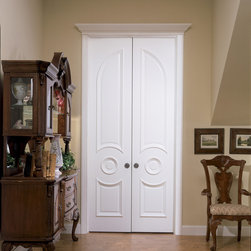 Victorian door - Trustile TS3230 common arch pair in MDF with big bolection moulding (BBM) and scoop (B) panel