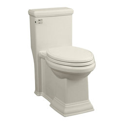 "American Standard - American Standard 2847.128.222 Town Square Flowise Elongated Toilet, Linen - American Standard 2847.128.222 Town Square Flowise Right Height Elongated One-Piece Toilet,  Linen. This elongated toilet features a 12"" Rough-in, a 16-1/2"" Right Height bowl with siphon action, a smooth-sided concealed trapway, an EverClean surface that inhibits the growth of bacteria, mold, and mildew, an oversized 3"" flush valve, a left-sided chrome trip lever, and a Duroplast slow-close seat and cover."