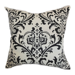"""The Pillow Collection - Olavarria Damask Pillow Black White 20"""" x 20"""" - Bring a charming twist to your interiors by decorating this damask throw pillow. This square pillow comes with an elaborate motif in shades of white and black. Add this decor pillow as an accent piece to your bed, chair or sofa. Mix and match other damask pillows for a dramatic contemporary style. Made from 100% soft cotton fabric. Hidden zipper closure for easy cover removal.  Knife edge finish on all four sides.  Reversible pillow with the same fabric on the back side.  Spot cleaning suggested."""