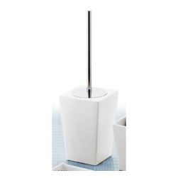 Gedy - Square Matte White Toilet Brush Holder with Chrome - A floor standing contemporary toilet brush & holder that is made in ceramic and brass and coated with matte white. Part of the Jamila collection by Gedy, this designer toilet cleaning brush perfectly compliments more contemporary bathrooms. Imported from and manufactured in Italy by Gedy. Toilet cleaning brush for a decorator bath. Designer toilet brush & holder. Very high quality ceramic and brass, coated with matte white. Made by Gedy in Italy.