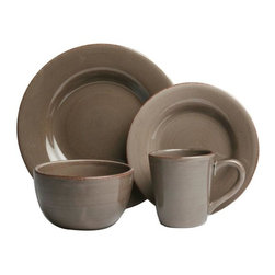 Tag Everyday - Sonoma 16-Piece Dinnerware Collection - Made of ironstone. All pieces are hand painted with distressed strokes. Microwave and dishwasher safe. Mix and match colors. Set includes 4 each of dinner plate, salad plate, cereal bowl and mug. Color: Warm Gray. 11 in. Dia. 8.25 in. Dia. 3.25 in. H x 6 in. Dia. 4.25 in. H x 4 in. dia (14 oz. capacity)