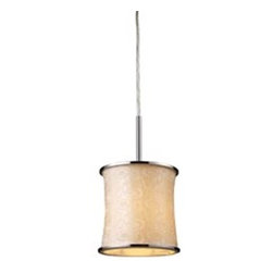 Elk Lighting - Elk Lighting Fabrique Transitional Mini Pendant Light X-1/42002 - This elegant design of Elk Lighting Fabrique Transitional mini pendant light offers an elegant lighting fixture that will update any decor.  Featured in a retro beige color, the circular pattern designs are carefully handcrafted using a Chrome finish.  Stylish yet contemporary, this pendant light adds a pleasing unique style to your home decor.